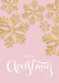 Christmas with snowflake of gold on a pink