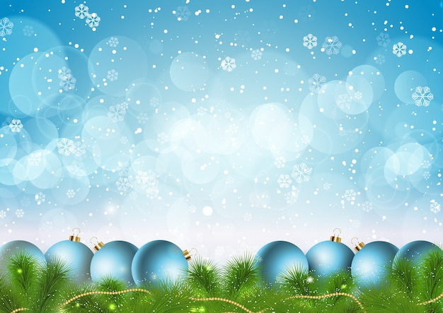 Christmas with snowflakes and baubles design
