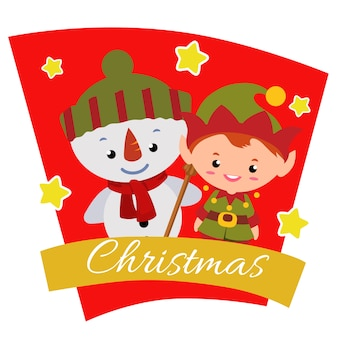 Christmas with snowman characters elf