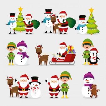 Natale con pupazzo di neve e personaggi set Vettore gratuito