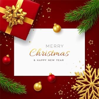 正方形の紙のバナーとクリスマス