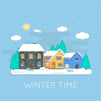 冬の家、家、森、白い輝く雪のクリスマス