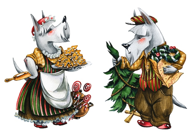 クリスマスオオカミカップル手描き水彩イラスト。白い背景の上のヴィンテージの衣装で素晴らしい動物のペア。おとぎ話の獣と新年の木とジンジャーブレッドの水彩画