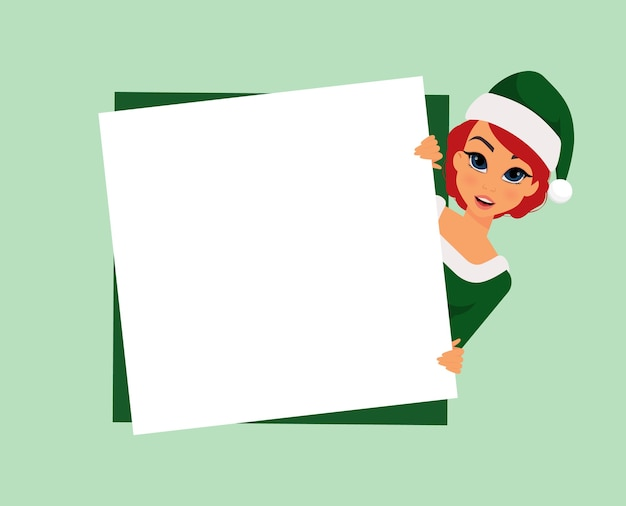 Christmas woman in elf costume with blank postcard on green background
