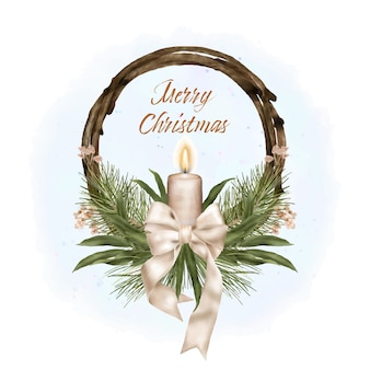 Christmas wood wreath with ribbon and candle