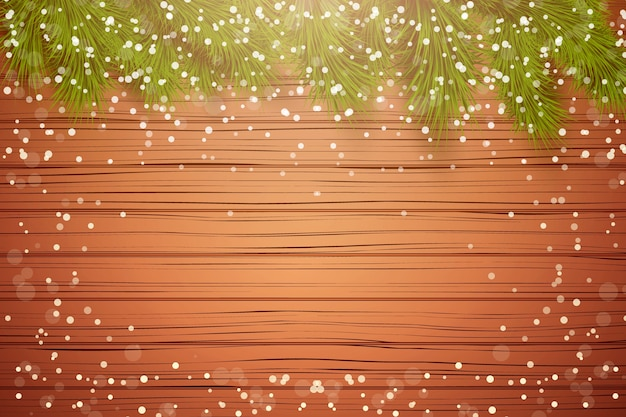 Christmas wooden background with spruce fir tree with space for text and snow border.