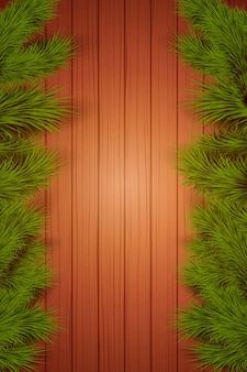 Christmas wooden background with spruce fir tree with space for text.
