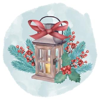 Рождественский деревянный фонарь со свечой