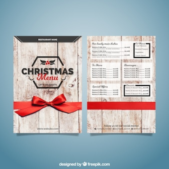 Рождественское деревянное меню