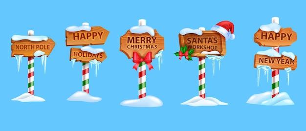 크리스마스 나무 한숨 보드 세트 벡터 크리스마스 북극도로 포인터 산타 클로스 워크샵 화살표