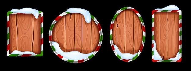 Рождество деревянная вывеска коллекция вектор зимний праздник деревенский баннер кадр набор сугроб