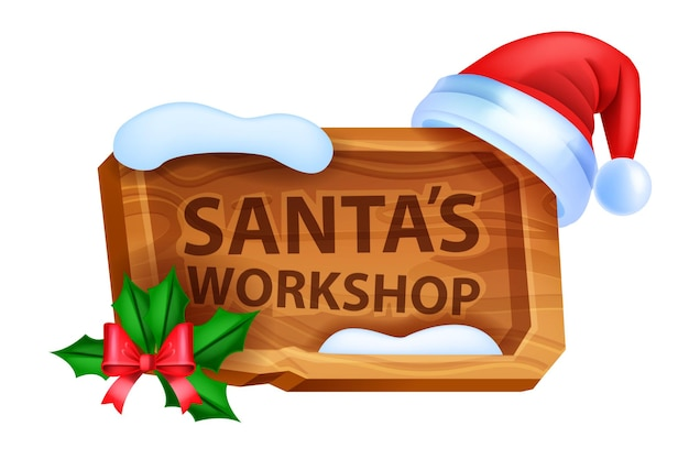 Christmas wooden sign board vector winter santas workshop pointer red holiday hat bow holly