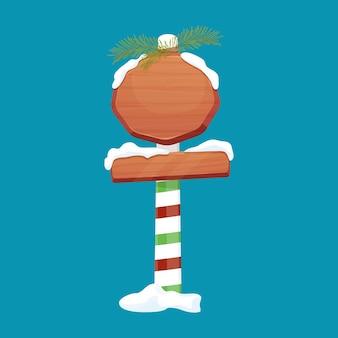 Рождественские деревянные вывески дорожные знаки на полосатой палке с украшением