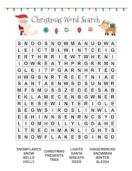 Christmas word search for children