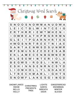 Рождественский поиск слов для детей
