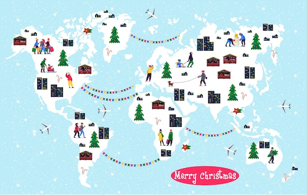 Christmas world map with festive teenagers with shopping bags  adults with kids
