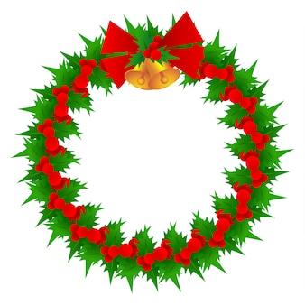 クリスマスの花輪と鐘のベクトル