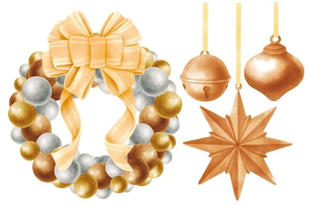 Рождественский венок и колокольчики иллюстрации акварель стили