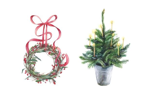 クリスマスリースとベクトル形式のキャンドルと常緑樹