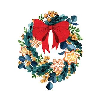 白い背景の上のクリスマスリース大きな赤い弓水彩イラスト