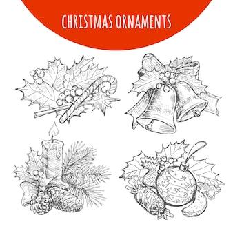 Christmas wreath bows, bells, candle sketch