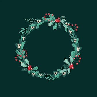 Christmas wreath of branches, leaves, berries, holly, white mistletoe, poinsettia.