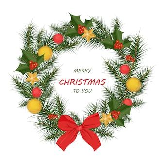 クリスマスリースカードの背景。ハッピーホリデーお祝いのデザイン