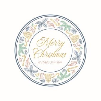 Рождественский венок открытка с баннером рамки круга и милой типографикой. нежные цвета поздравительная этикетка или макет наклейки с эскизами ели, остролиста, омелы и подарочных коробок. изолированные