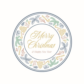 Christmas wreath card with circle frame banner and cute typography. gentle colors greetings label or sticker layout with sketch spruce, holly, mistletoe and gift boxes. isolated