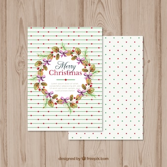 Christmas wreath card with lines and circles