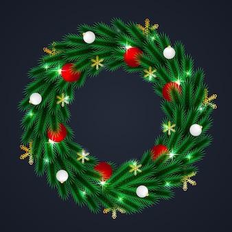크리스마스 화환 원형 프레임 템플릿