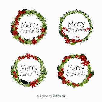 Christmas wreath collection flat design style