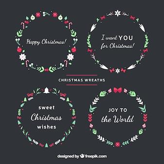 평면 디자인의 크리스마스 화환 컬렉션