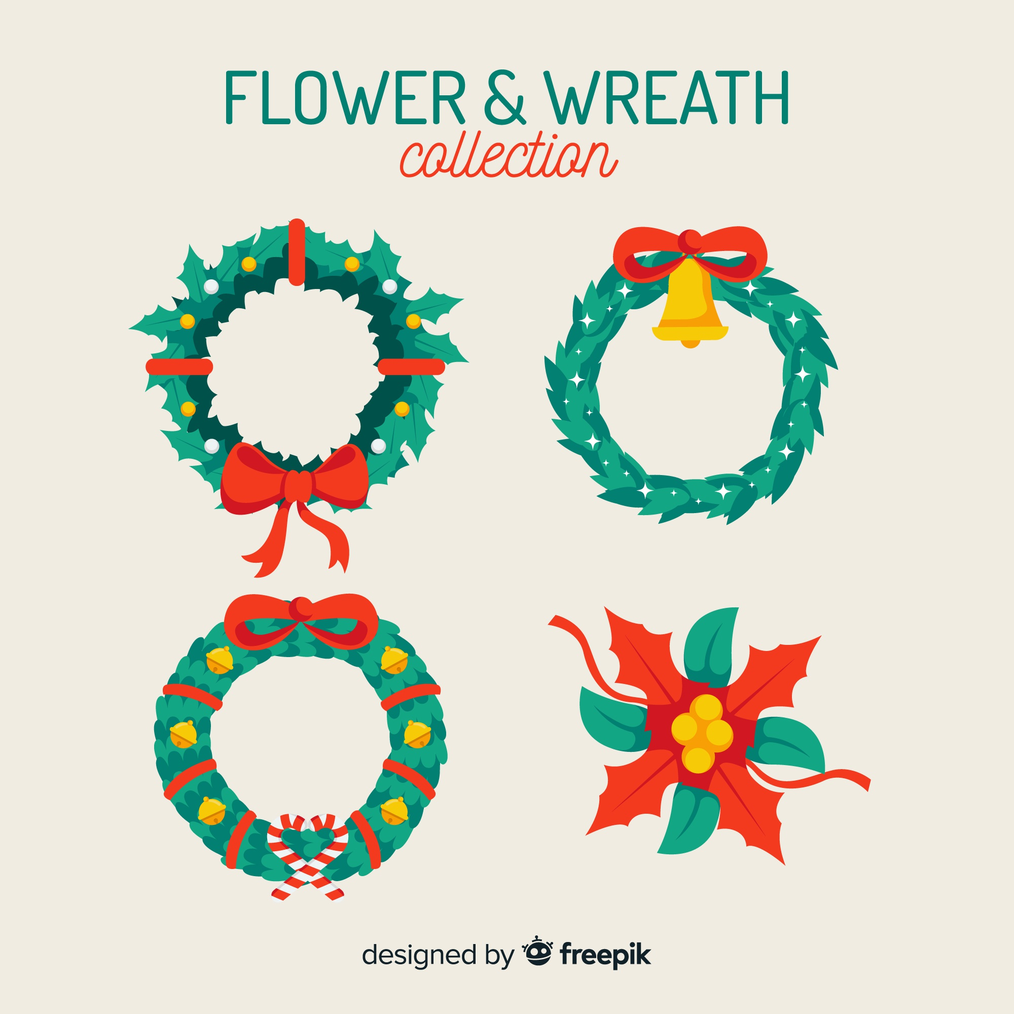 Christmas wreath collection in flat design