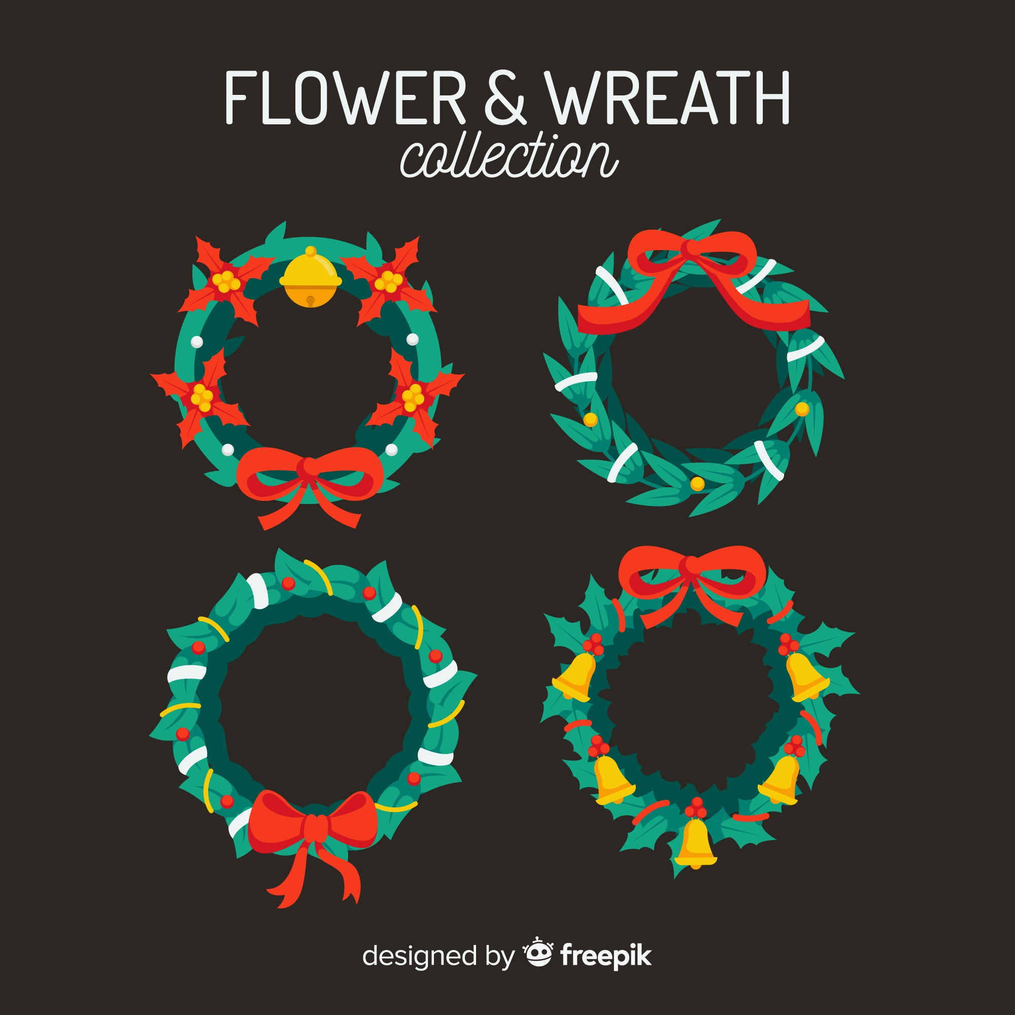 Christmas wreath collection in flat style
