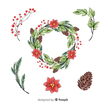 Christmas wreath collection watercolor style
