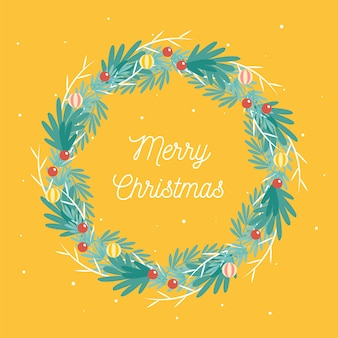 Christmas wreath concept in flat design