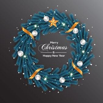クリスマスリースデコレーションブルーパインリーフホワイトゴールデンボール