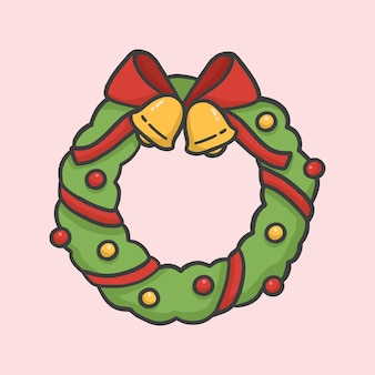 Christmas wreath decoration hand drawn cartoon style vector