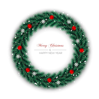 Christmas wreath decoration pine leaf and christmas red golden ball