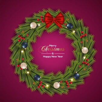 クリスマスボールの赤い裸の赤いリボンでクリスマスリースの装飾