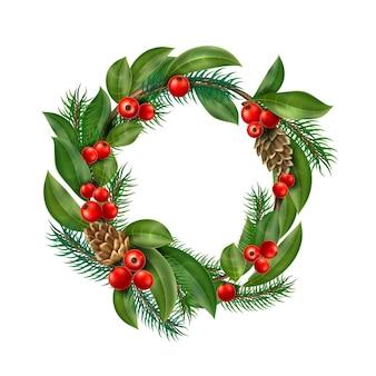 ヒイラギの葉とクリスマスリースの装飾
