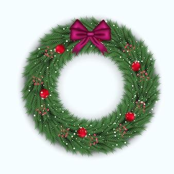 赤いボールとクリスマスリースの装飾赤い裸のピンクのリボン