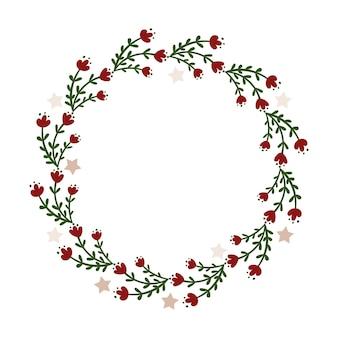 クリスマスリースのデザイン。ベクトルイラスト。