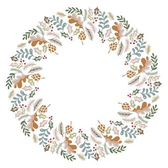 Christmas wreath design vector.