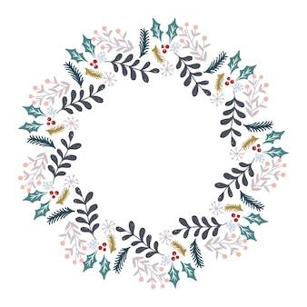 クリスマスリースデザインベクトル。
