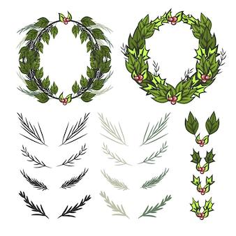 Christmas wreath elements