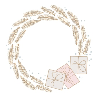 Christmas wreath evergreen branches gift boxes frame with copy place