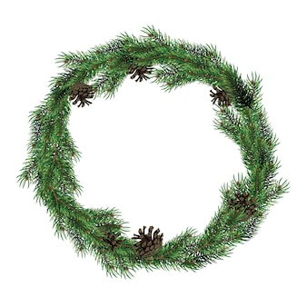 Christmas wreath of fir branches with cones