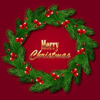Christmas wreath of fir branches.